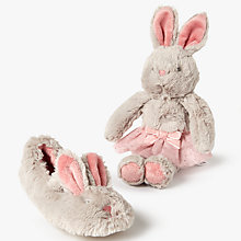 Buy John Lewis Children's Bunny Ballet Slippers Gift Box, Grey Online at johnlewis.com
