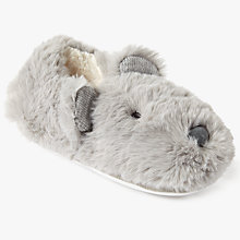 Buy John Lewis Children's Bear Closed Back Slippers, Grey Online at johnlewis.com