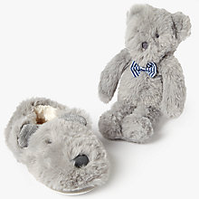 Buy John Lewis Children's Bear Closed Back Slippers Gift Box, Grey Online at johnlewis.com