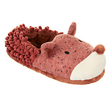 Buy John Lewis Children's Fox Closed Back Slippers, Blue/Orange Online at johnlewis.com