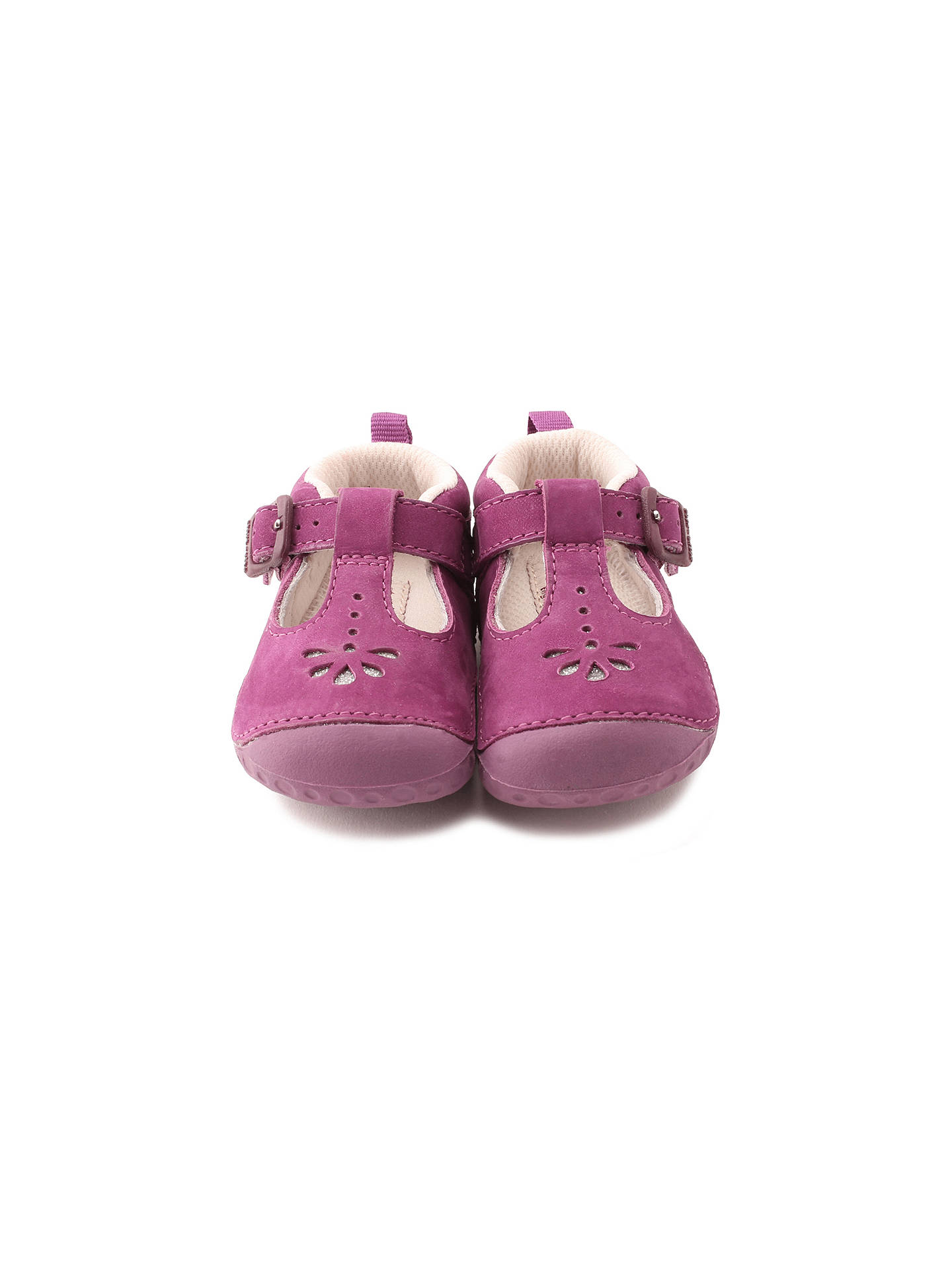 BuyStart-rite Baby Bubble T-bar Leather Shoes, Berry, 2E Jnr Online at johnlewis.com
