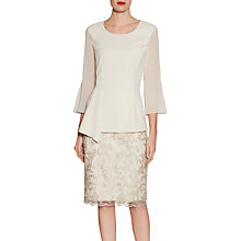 Buy Gina Bacconi Embroidered Cord Mesh Skirt, Butter Cream Online at johnlewis.com