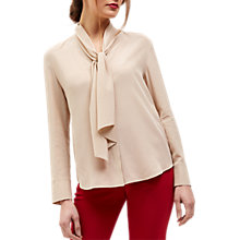 Buy Jaeger Silk Tie-Neck Blouse, Beige Online at johnlewis.com