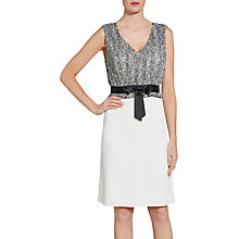 Buy Gina Bacconi Crepe Dress With Itsy Chiffon Bodice, Black/White Online at johnlewis.com