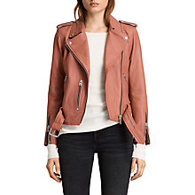 Buy AllSaints Leather Balfern Biker Jacket, Burnt Coral Online at johnlewis.com