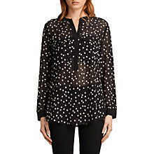 Buy AllSaints Picolina Embroidered Stars Shirt, Black Online at johnlewis.com