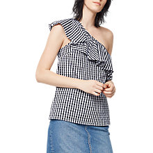 Buy Warehouse Gingham One Shoulder Top, Black/White Online at johnlewis.com