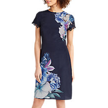 Buy Oasis Georgia Floral Print Knee Length Dress, Navy/Multi Online at johnlewis.com