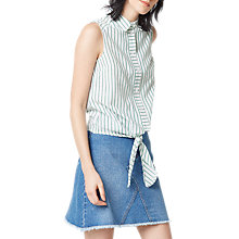 Buy Warehouse Casual Sleeveless Stripe Shirt, Green Online at johnlewis.com