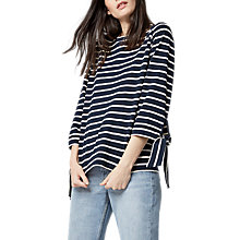 Buy Warehouse Tie Cuff Striped Top, Blue Online at johnlewis.com