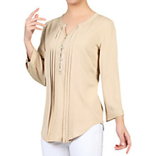 Buy Jolie Moi Button Front Pleated Blouse, Neutral Online at johnlewis.com
