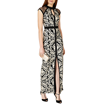 Phase Eight Collection 8 Elodie Embroidered Full Length Dress, Black/Oyster