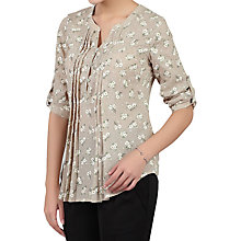 Buy Jolie Moi Floral Print Button Front Blouse, Beige Online at johnlewis.com