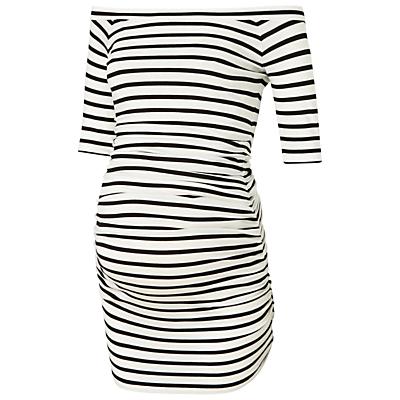 Isabella Oliver Nia Stripe Off Shoulder Maternity Top, Black/White