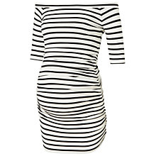 Buy Isabella Oliver Nia Stripe Off Shoulder Maternity Top, Black/White Online at johnlewis.com