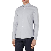 Buy Reiss Lethera Textured Cotton Slim Fit Shirt, Grey Online at johnlewis.com