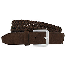 Buy Reiss Bridge Plaited Suede Leather Belt, Dark Brown Online at johnlewis.com