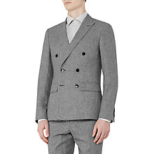 Buy Reiss Bribe Mottled Weave Double Breasted Slim Fit Suit Jacket, Light Grey Online at johnlewis.com