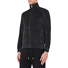 Buy Reiss Pluto Velour Zip Top, Black Online at johnlewis.com