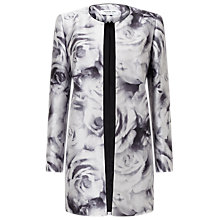 Buy Jacques Vert Rose Print Jacket, Black/Multi Online at johnlewis.com
