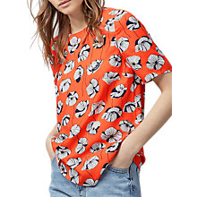 Buy Warehouse Floating Floral T-Shirt, Orange Online at johnlewis.com
