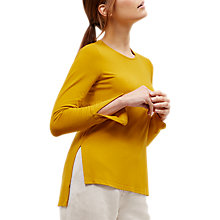 Buy Jaeger Jersey Split Sleeve Top, Mustard Online at johnlewis.com