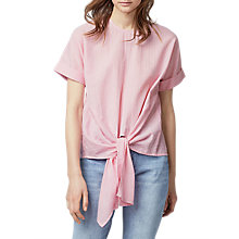 Buy Warehouse Stripe Tie Front Cotton Top, Pink Online at johnlewis.com