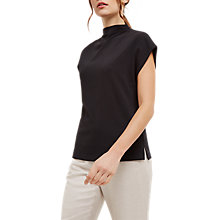 Buy Jaeger Drape Neck Jersey Top, Black Online at johnlewis.com