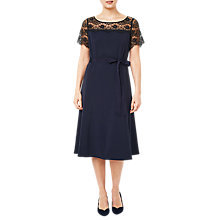 Buy Jacques Vert Lace Yoke Crepe Dress, Navy Online at johnlewis.com