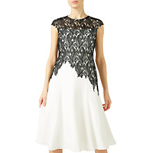 Buy Jacques Vert Leaf Lace Crepe Shift Dress, Black/Multi Online at johnlewis.com