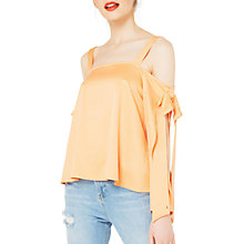 Buy Miss Selfridge Bow Detail Cold Shoulder Top, Orange Online at johnlewis.com