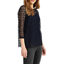 Buy Phase Eight Odette Lace Top, Navy Online at johnlewis.com