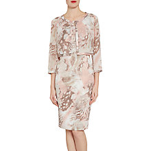 Buy Gina Bacconi Printed Dress And Chiffon Jacket With Satin Trims, Taupe/Blush Online at johnlewis.com