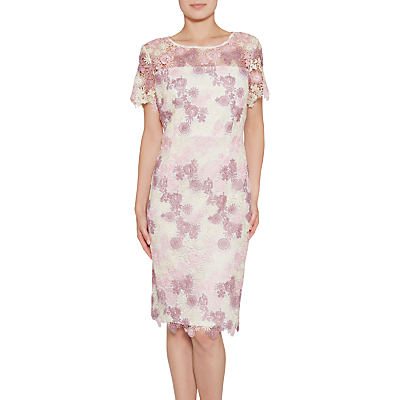Product photo of Gina bacconi dainty three tone guipure lace dress summer plum