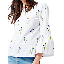 Buy Warehouse Embroidered Floral Top, White Online at johnlewis.com