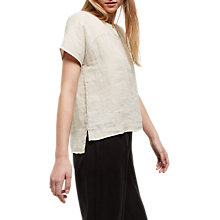 Buy Jaeger Linen Yoke Placket Top, White Online at johnlewis.com