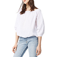 Buy Warehouse Broderie Blouson Top, White Online at johnlewis.com