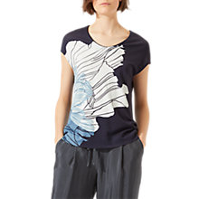 Buy Jigsaw Floating Poppy Print Jersey Top, Midnight Grey Online at johnlewis.com