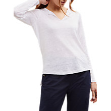 Buy Jaeger Linen Split Hem Top, White Online at johnlewis.com