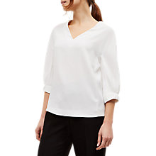 Buy Jaeger Gathered Sleeve Blouse, White Online at johnlewis.com