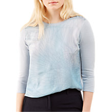 Buy Jigsaw Spirograph Silk Front Jumper, Blue Pearl Online at johnlewis.com