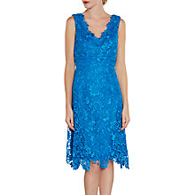 Buy Gina Bacconi V-Neck Lace Dress And Chiffon Scarf, Royal Blue Online at johnlewis.com