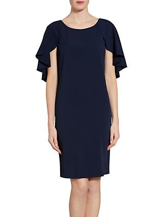 Gina Bacconi Moss Crepe Dress With Bead Trimmed Cape Detail f83a1c9a1