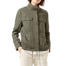 Buy Jigsaw Linen Mix Military Jacket, Cactus Green Online at johnlewis.com