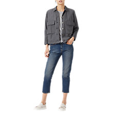 Buy Jigsaw Linen Mix Shirt Jacket, Midnight Grey Online at johnlewis.com