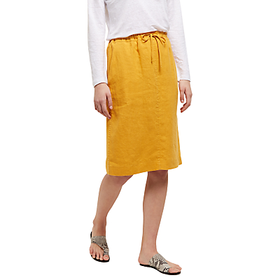 Jaeger Linen Paper Bag Pencil Skirt, Sunfower