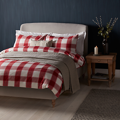 Image of John Lewis Ombre Check Brushed Cotton Duvet Cover and Pillowcase Set, Red