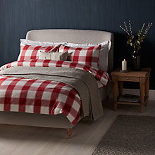 Buy John Lewis Ombre Check Brushed Cotton Duvet Cover and Pillowcase Set, Red Online at johnlewis.com