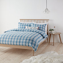 Buy John Lewis Check Brushed Cotton Duvet Cover and Pillowcase Set, Blue Online at johnlewis.com
