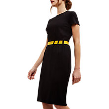 Buy Jaeger Ponte Gathered Belt Dress, Black/Gold Online at johnlewis.com